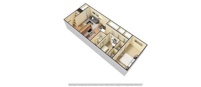 2 bedroom floorplan 3D furnished