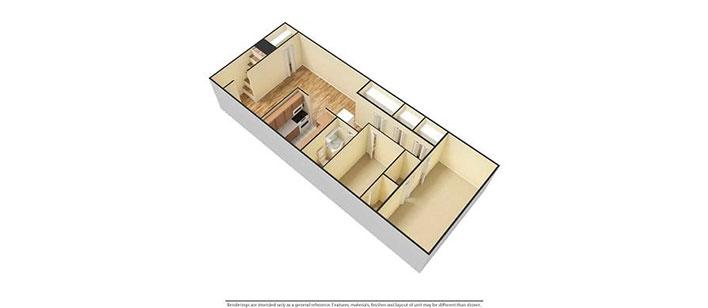 2 bedroom floorplan 3D