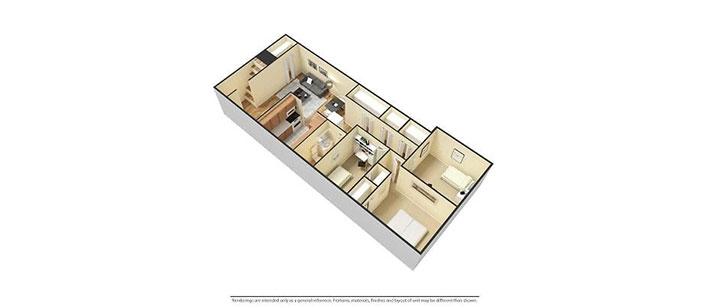 3 bedroom floorplan 3D furnished