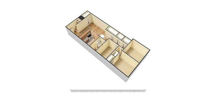 3 bedroom floorplan 3D